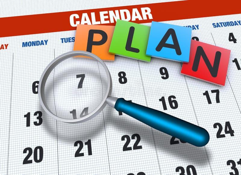 Calendario con la lupa ilustración del vector