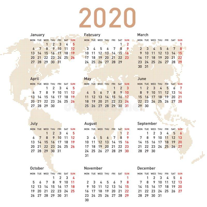 Calendario 2020 con la mappa di mondo Inizio di settimana il luned? immagini stock