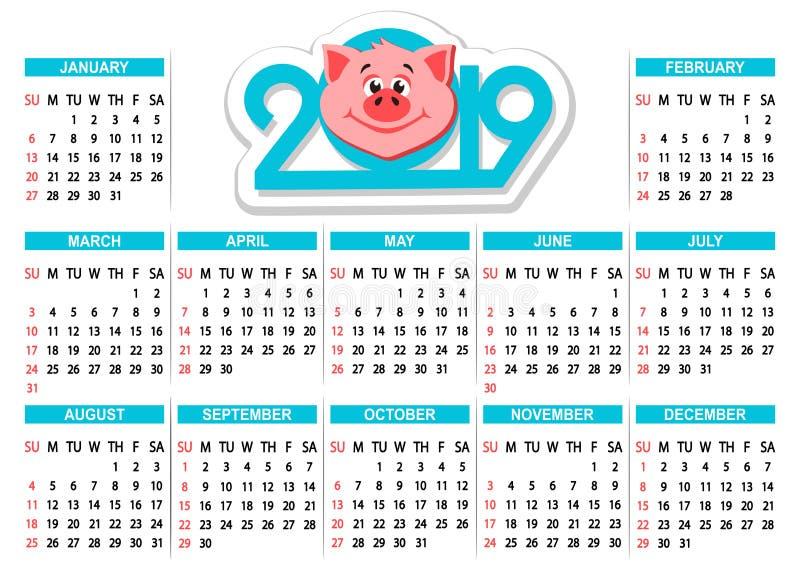 Calendario 2019 con la testa del ` s del maiale del fumetto su un fondo bianco illustrazione vettoriale
