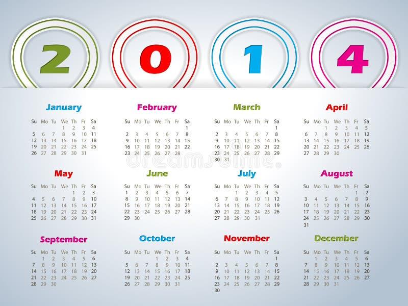calendario 2014 con las cintas formadas globo libre illustration