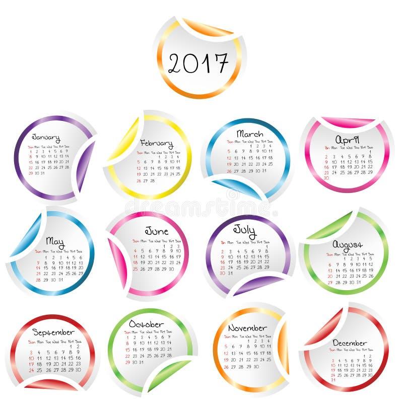 Calendario 2017 con las etiquetas engomadas brillantes redondas stock de ilustración