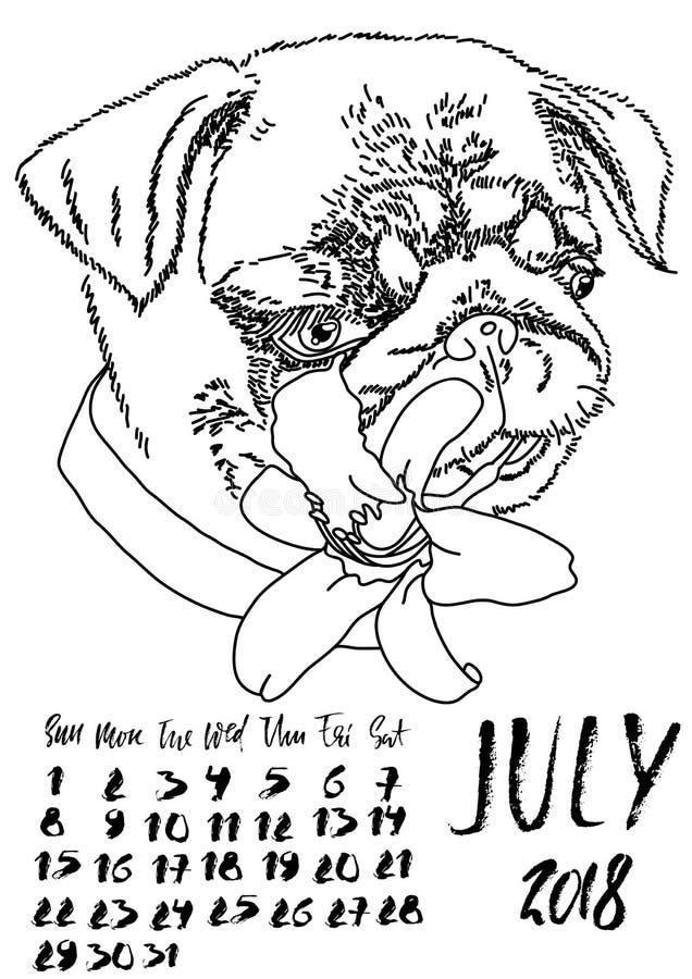 Calendario con las letras secas del cepillo En julio de 2018 Perro con la flor del lirio del verano Retrato lindo del barro amasa stock de ilustración