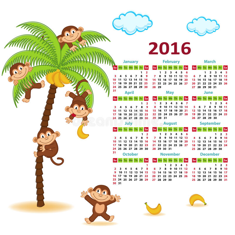 Calendario con le scimmie sulla palma 2016 illustrazione vettoriale