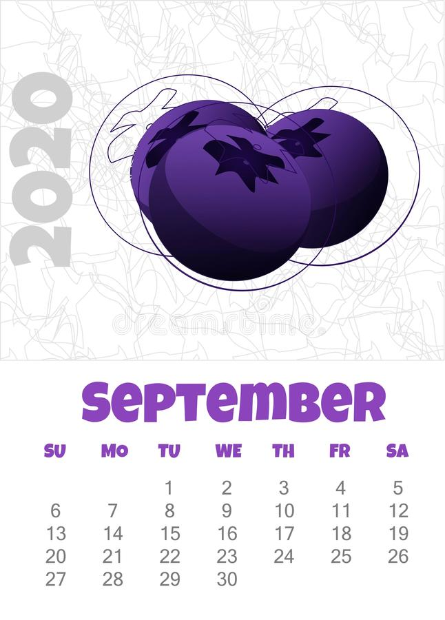Calendario 2020 con los arándanos septiembre Ilustraci?n del vector stock de ilustración