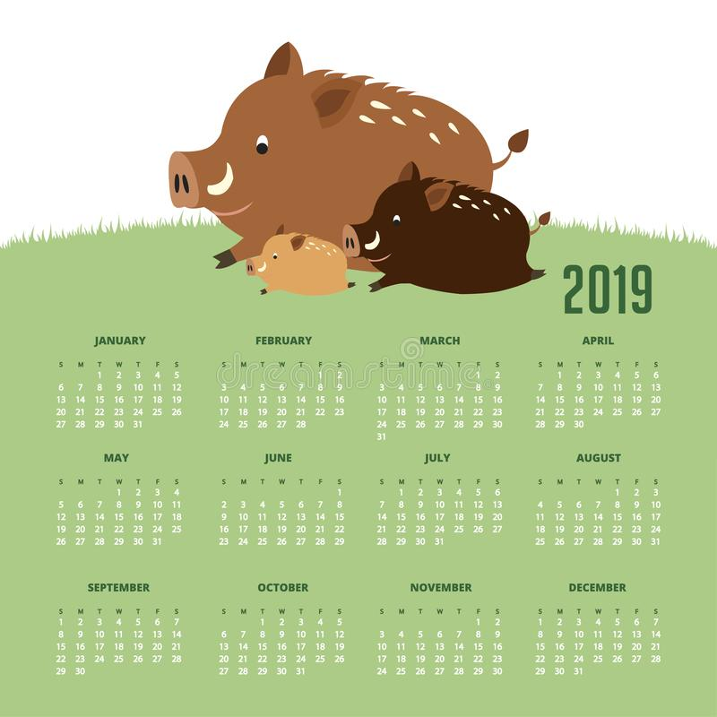 Calendario 2019 con los cerdos lindos ilustración del vector