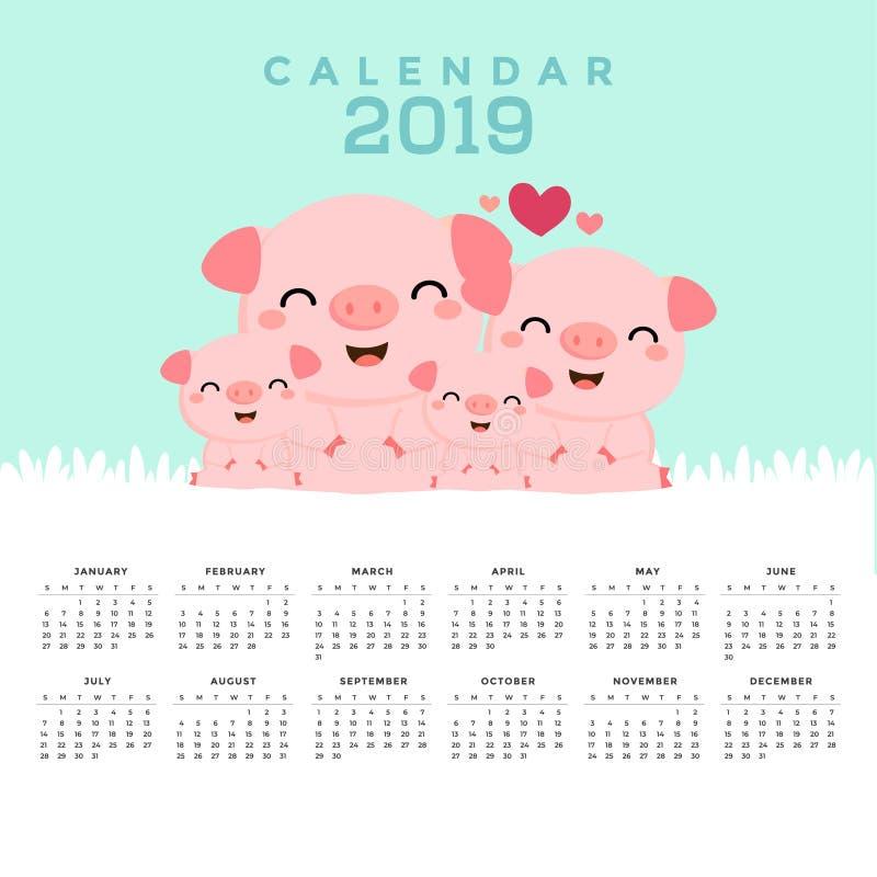 Calendario 2019 con los cerdos lindos stock de ilustración
