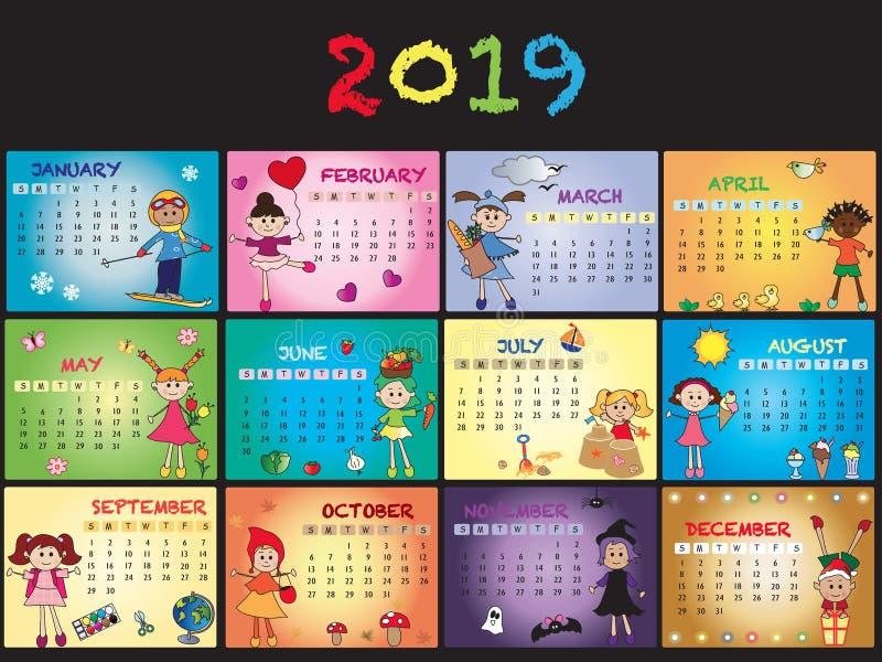 Calendario 2019 con los niños stock de ilustración