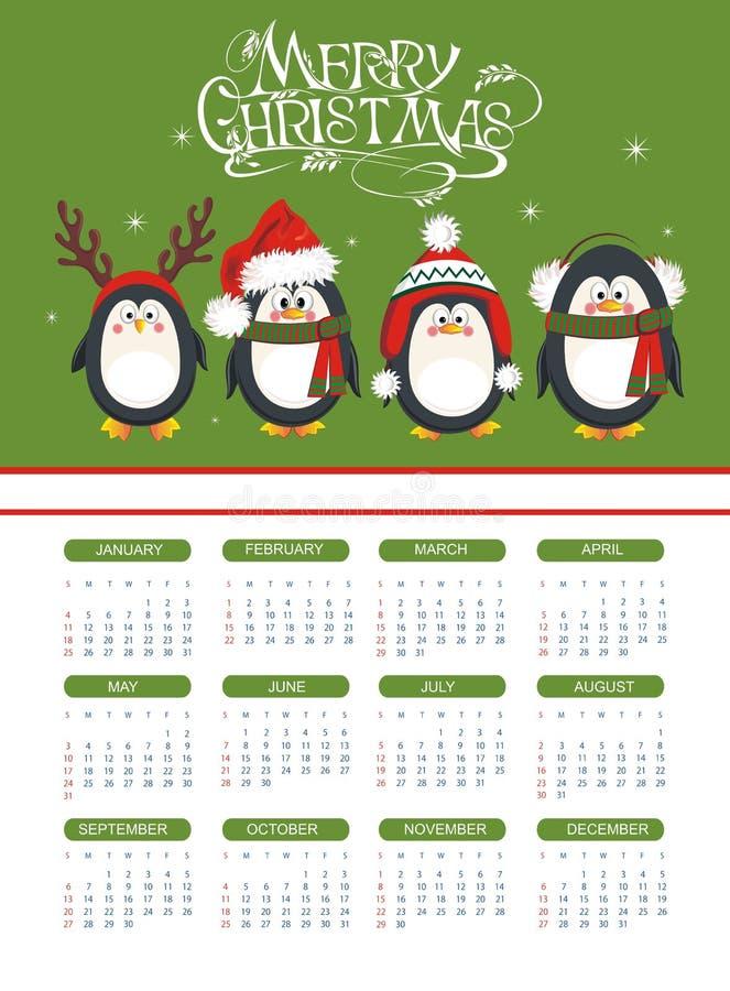 Calendario 2015 con los pingüinos divertidos ilustración del vector