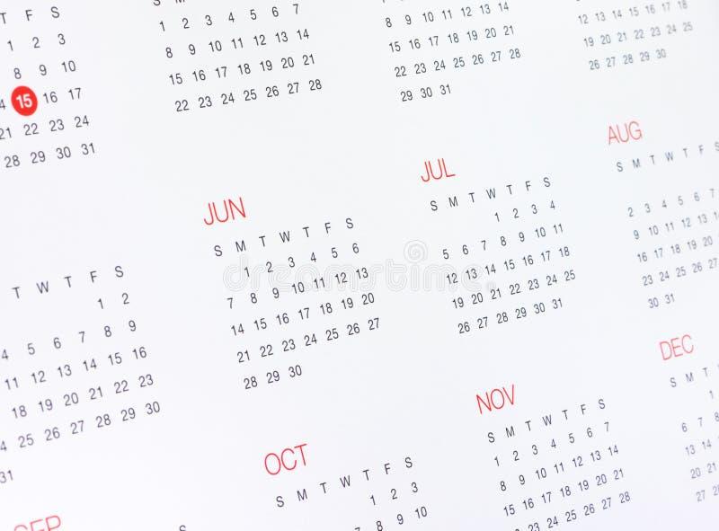 Calendario con meses y días imágenes de archivo libres de regalías