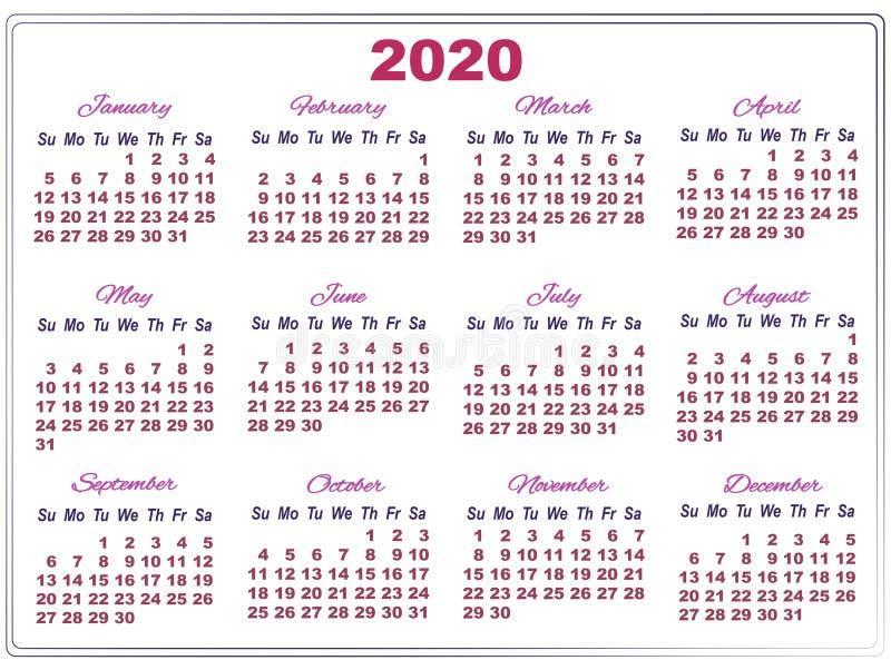 Calendario Agosto 2019 Numeros Grandes.Calendario 2020 Con Numeros Grandes Ilustracion Del Vector