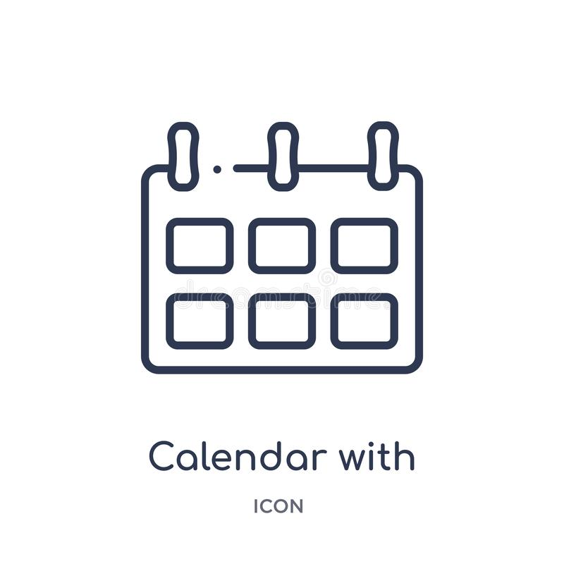 calendario con seis iconos de los días de la colección del esquema de las herramientas y de los utensilios Línea fina calendario  stock de ilustración