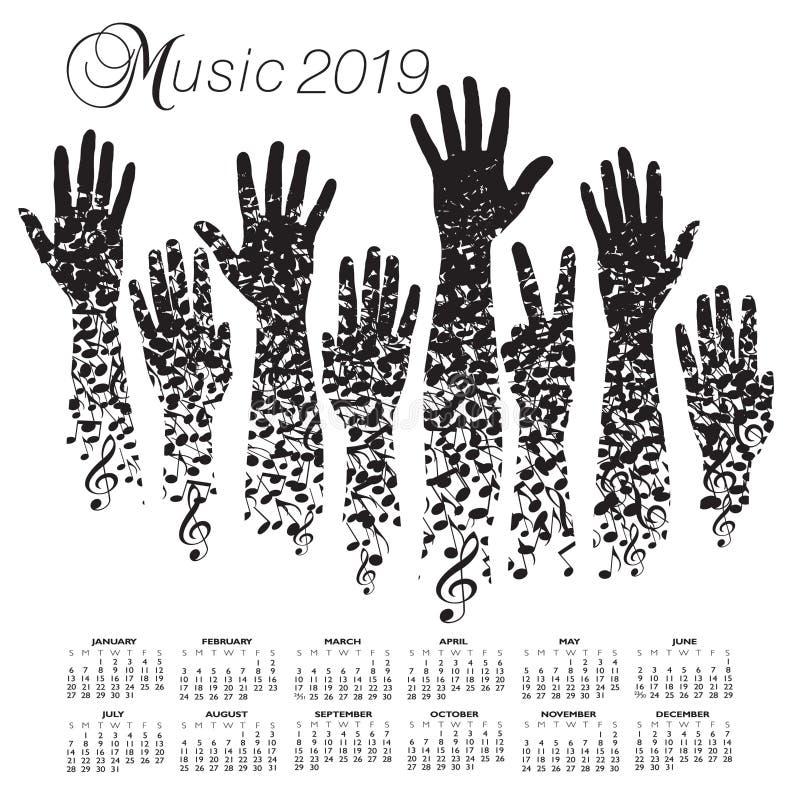 calendario 2019 con un hombre hecho de notas musicales stock de ilustración