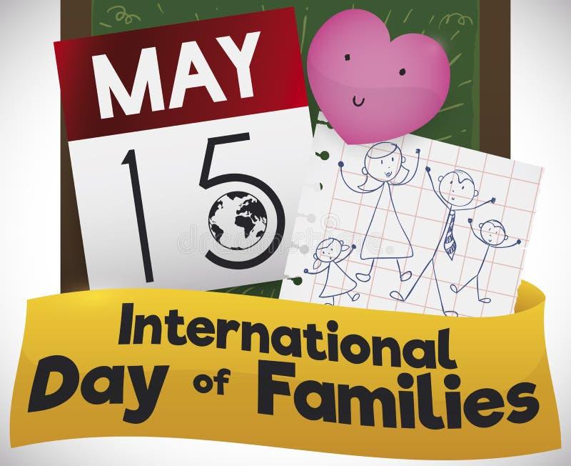 Calendario, corazón y dibujo para celebrar el día internacional de familias, ejemplo del vector ilustración del vector