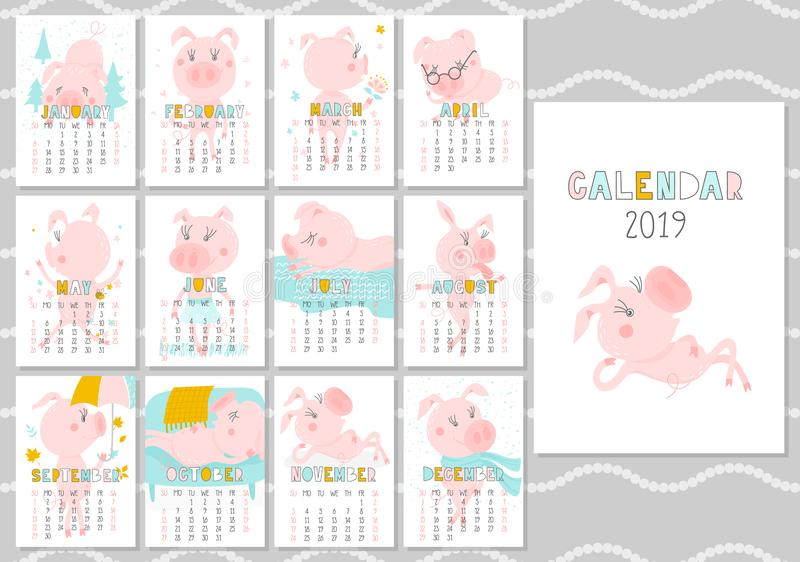Calendario creativo mensual 2019 con el cerdo lindo Concepto, plantilla editable vertical del vector Símbolo del año en ilustración del vector