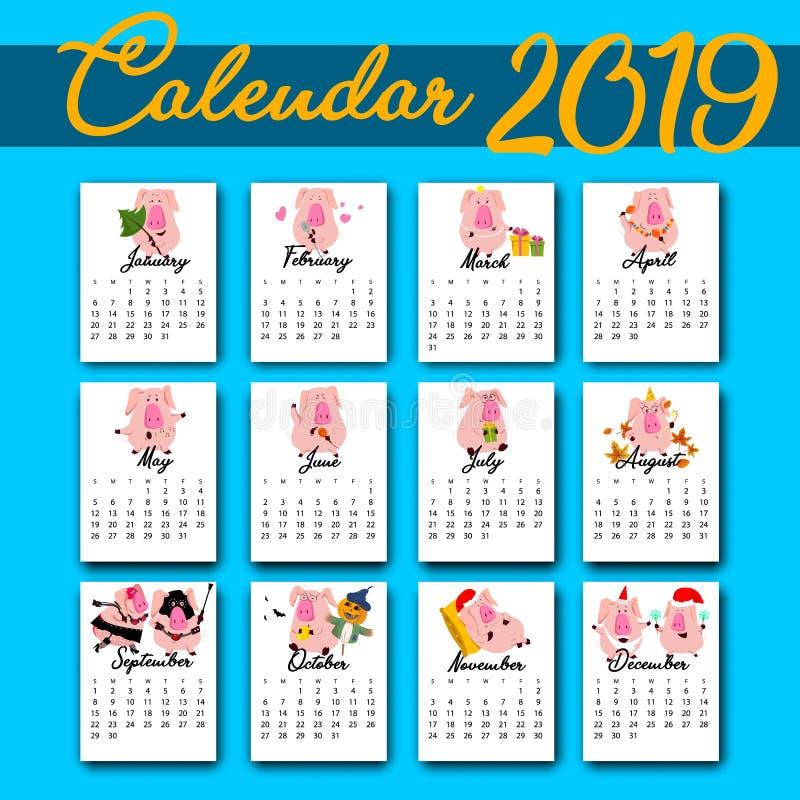 Calendario creativo mensual 2019 con el cerdo lindo Concepto, plantilla editable vertical del vector Símbolo del año en stock de ilustración