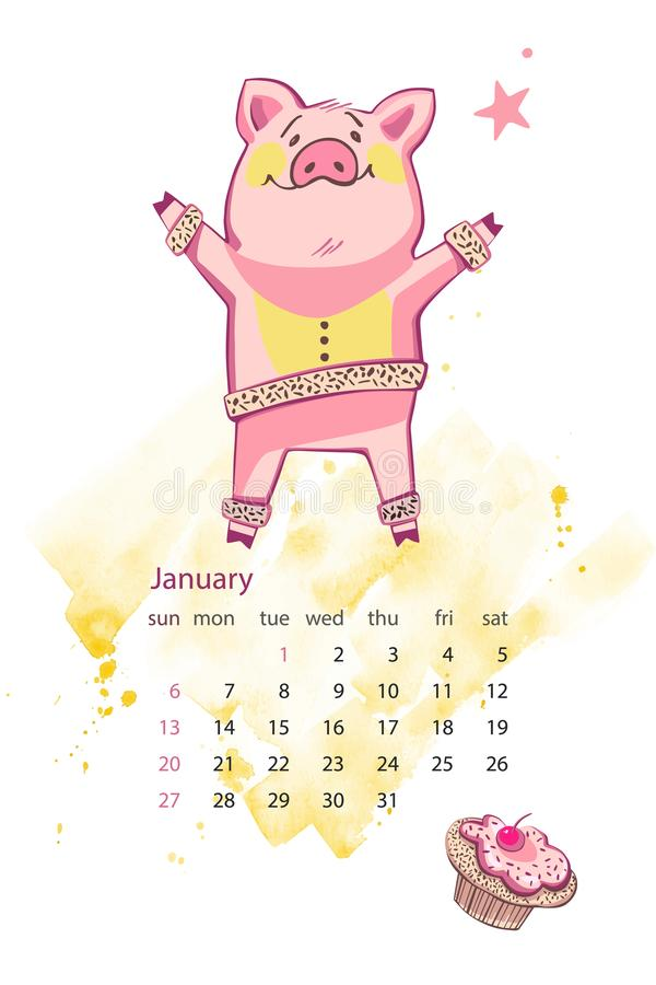 Calendario creativo mensual 2019 con el cerdo lindo Concepto, plantilla editable vertical del vector Símbolo del año en libre illustration