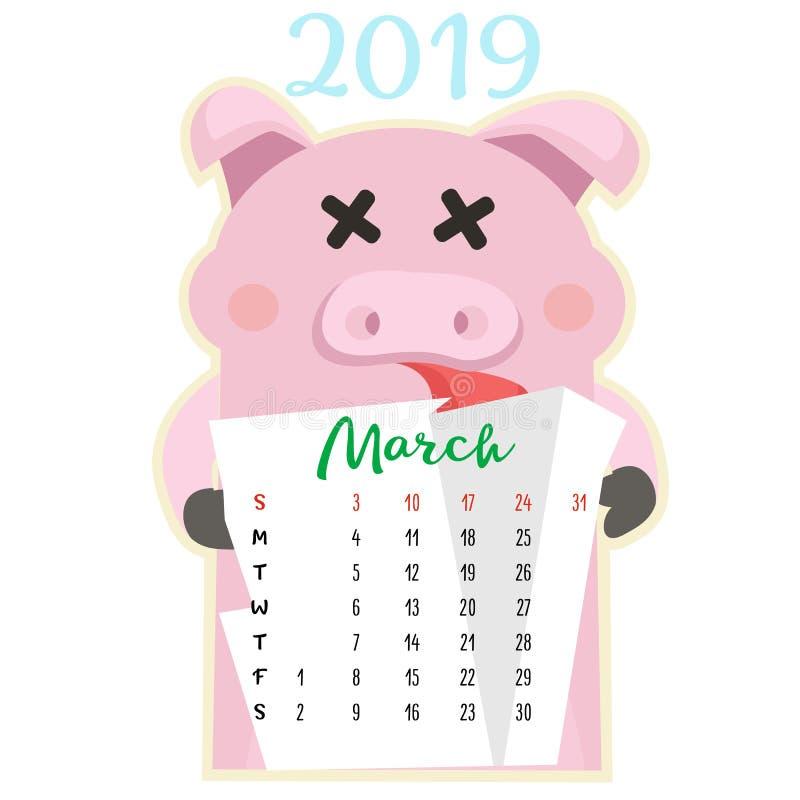 Calendario creativo mensual 2019 con el cerdo lindo Concepto, plantilla editable vertical del vector Símbolo del año en el calend ilustración del vector