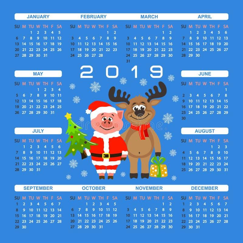 Calendario cuadrado colorido 2019 para los niños Cerdo en el traje de Santa Claus y el reno feliz libre illustration