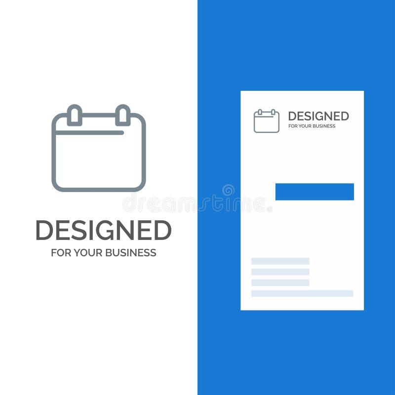 Calendario, día, fecha, año Grey Logo Design y plantilla de la tarjeta de visita ilustración del vector