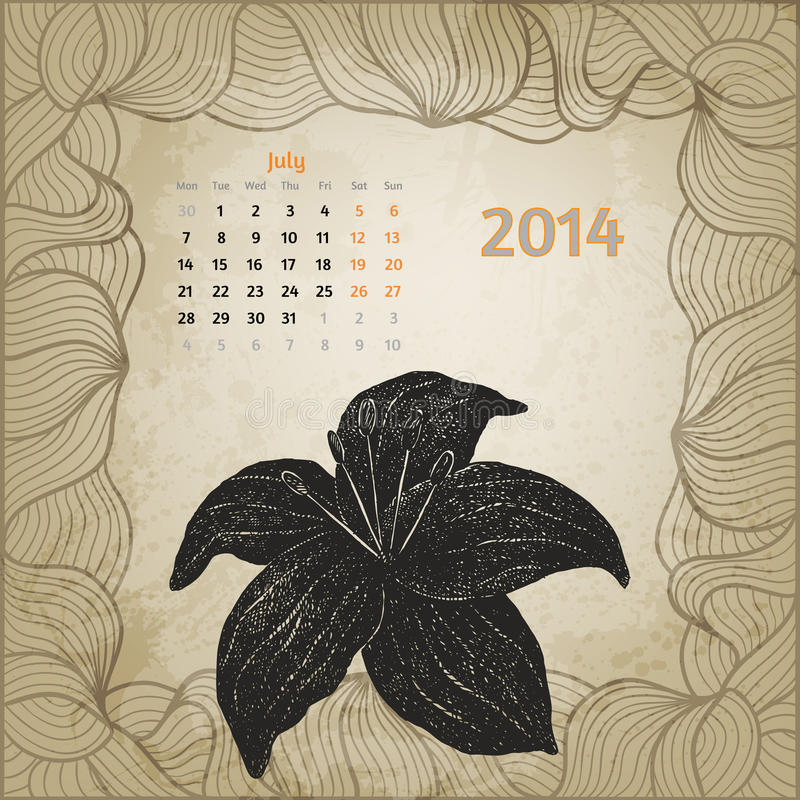 Calendario d'annata artistico con la penna disegnata a mano illustrazione vettoriale