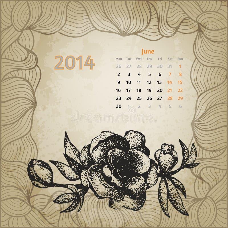 Calendario d'annata artistico con la penna disegnata a mano illustrazione di stock