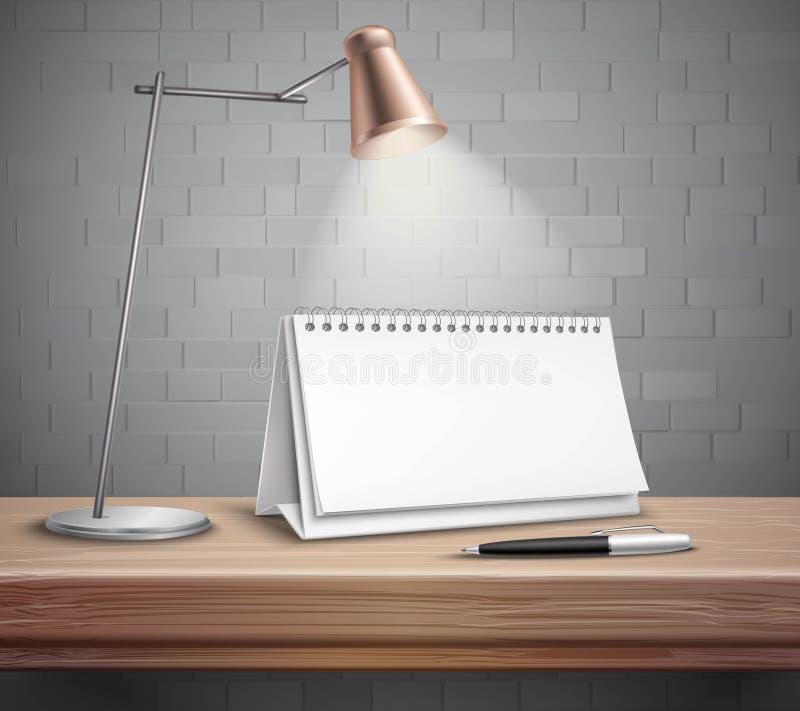 Calendario da scrivania in bianco sul concetto della Tabella illustrazione vettoriale