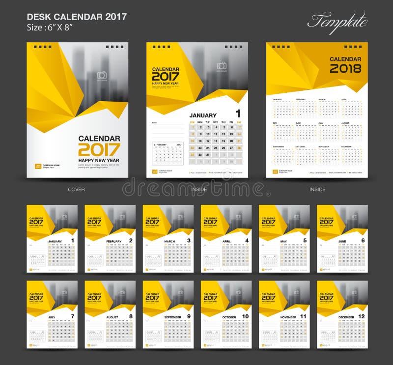 Calendario da scrivania giallo stabilito 2017 modello a 8 pollici di dimensione 6 x di anno illustrazione vettoriale