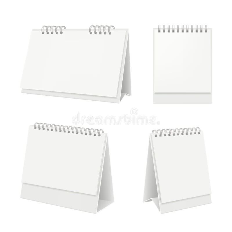Calendario da scrivania Organizzatore con il calendario del diario delle pagine in bianco sul modello realistico di vettore della illustrazione di stock