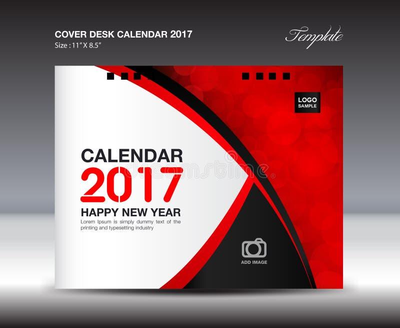 Calendario da scrivania per 2017 anni, progettazione rossa del calendario da scrivania della copertura illustrazione vettoriale