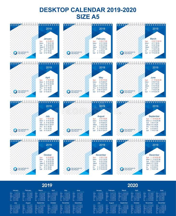 Calendario da scrivania per 12 mesi, anno 2019-2020, progettazione grafica moderna, modello A5 per la foto e testo, fondo geometr immagini stock libere da diritti