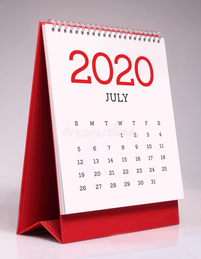 Calendario da scrivania semplice 2020 - luglio immagine stock libera da diritti