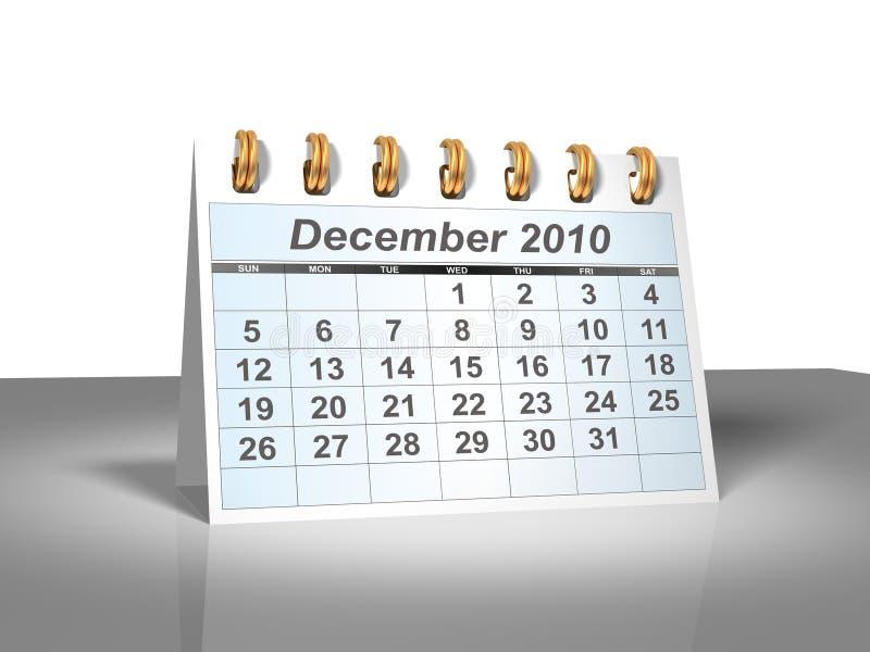 Calendario da tavolino (3D). Dicembre 2010. illustrazione vettoriale