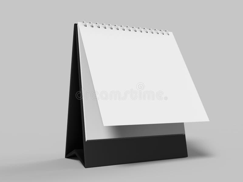 Calendario da tavolino in bianco isolato su fondo bianco per derisione su e progettazioni della stampa 3d rendono l'illustrazione royalty illustrazione gratis