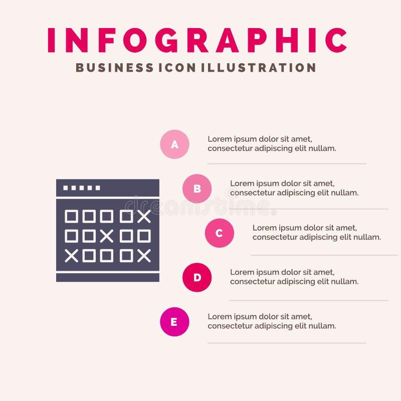 Calendario, data, evento, eventi, mese, programma, fondo solido di presentazione di punti di Infographics 5 dell'icona dell'orari royalty illustrazione gratis