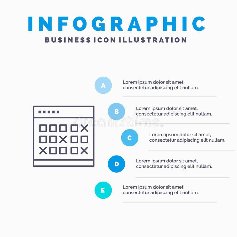 Calendario, data, evento, eventi, mese, programma, linea icona dell'orario con il fondo di infographics di presentazione di 5 pun illustrazione di stock