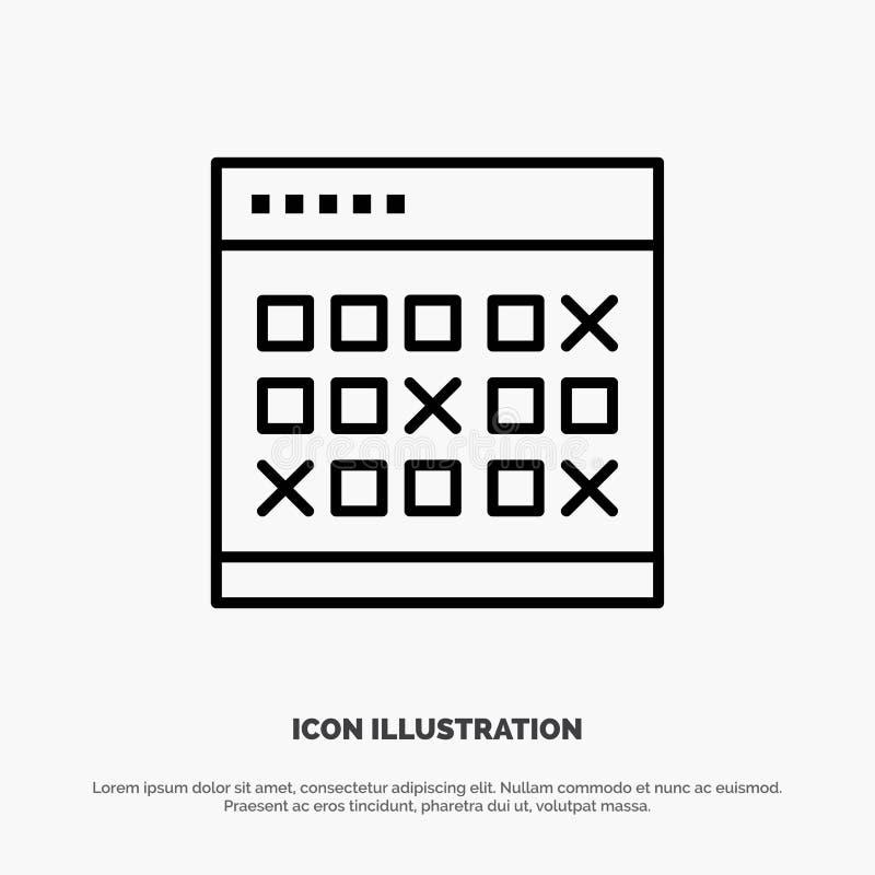Calendario, data, evento, eventi, mese, programma, linea vettore dell'orario dell'icona illustrazione di stock