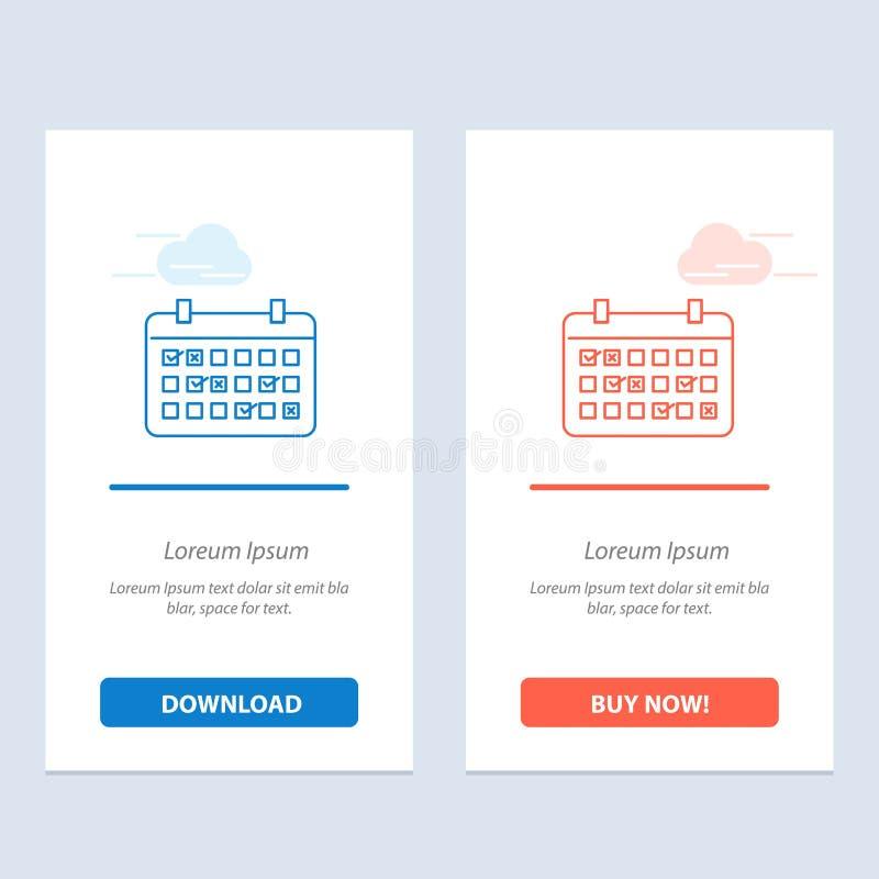 Calendario, data, mese, anno, blu di tempo e download rosso ed ora comprare il modello della carta del widget di web royalty illustrazione gratis