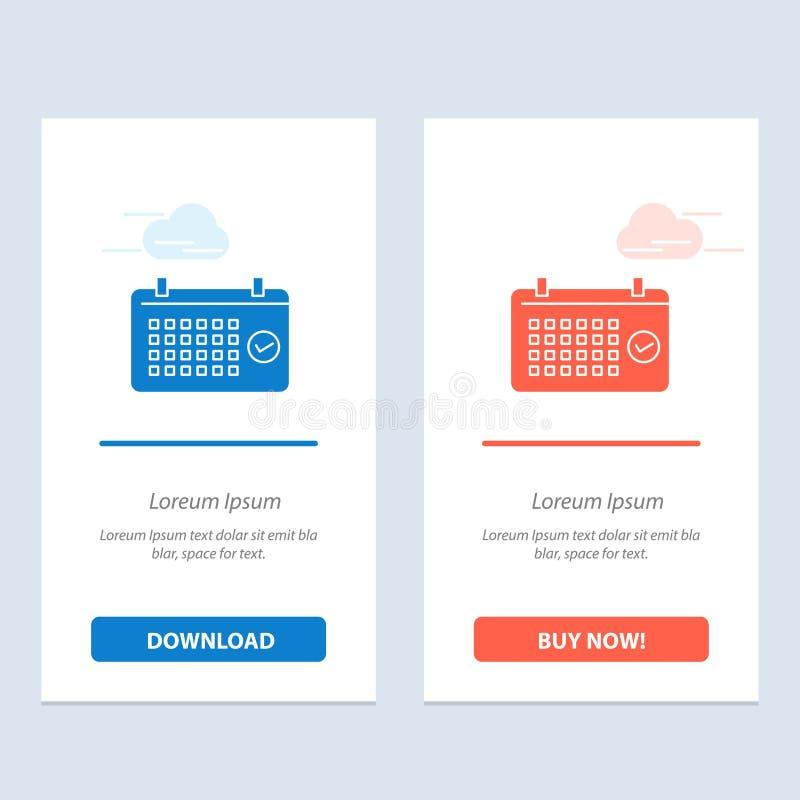 Calendario, data, mese, anno, blu di tempo e download rosso ed ora comprare il modello della carta del widget di web illustrazione di stock