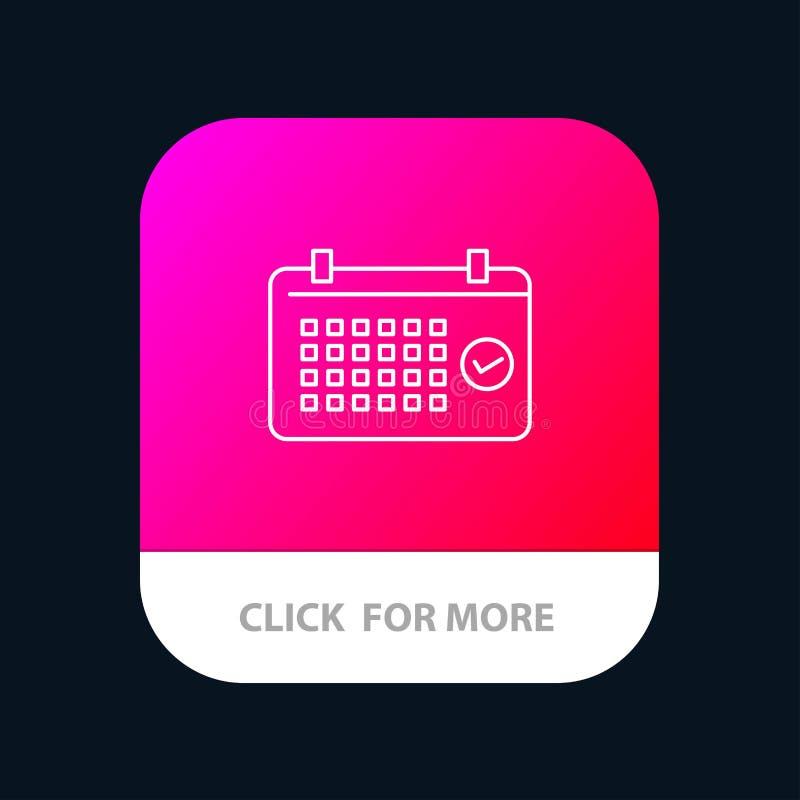 Calendario, data, mese, anno, bottone mobile del App di tempo Android e linea versione dell'IOS royalty illustrazione gratis