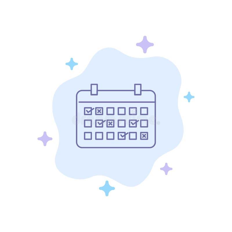 Calendario, data, mese, anno, icona blu di tempo sul fondo astratto della nuvola illustrazione vettoriale