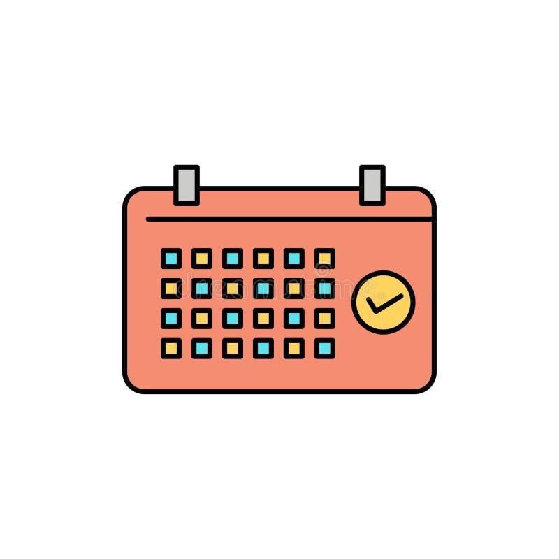 Calendario, data, mese, anno, icona piana di colore di tempo Modello dell'insegna dell'icona di vettore royalty illustrazione gratis