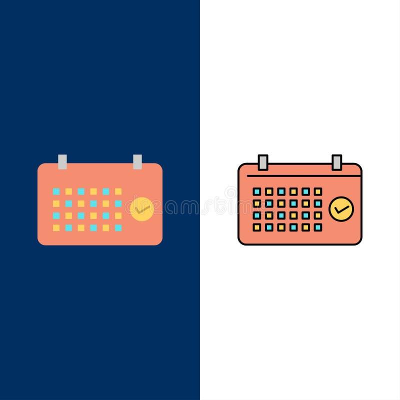 Calendario, data, mese, anno, icone di tempo Il piano e la linea icona riempita hanno messo il fondo blu di vettore royalty illustrazione gratis