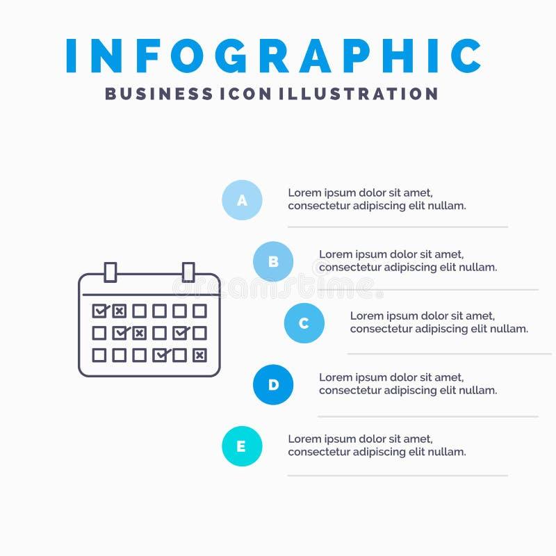 Calendario, data, mese, anno, linea di tempo icona con il fondo di infographics di presentazione di 5 punti illustrazione vettoriale