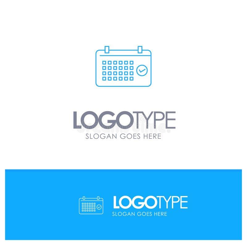 Calendario, data, mese, anno, logo blu del profilo di tempo con il posto per il tagline illustrazione vettoriale