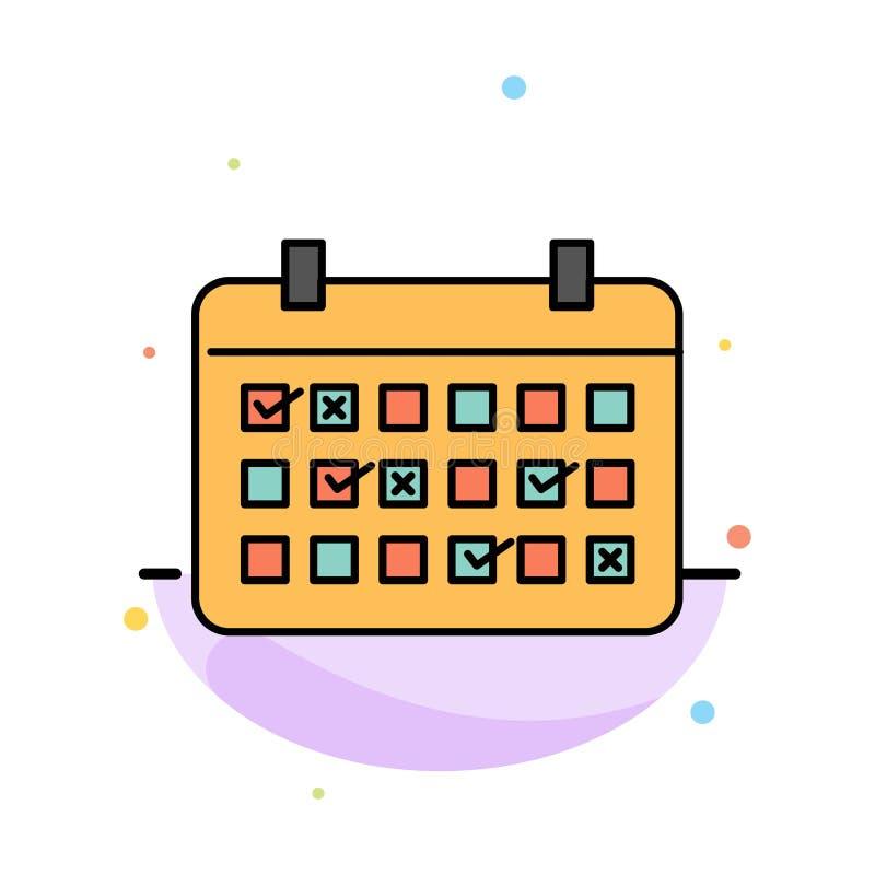 Calendario, data, mese, anno, modello piano dell'icona di colore dell'estratto di tempo royalty illustrazione gratis