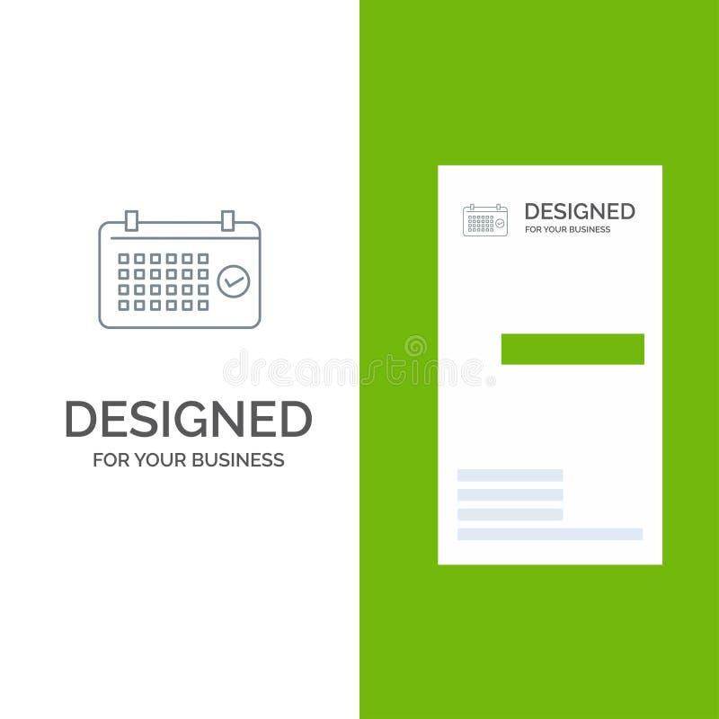 Calendario, data, mese, anno, ora Grey Logo Design e modello del biglietto da visita illustrazione vettoriale