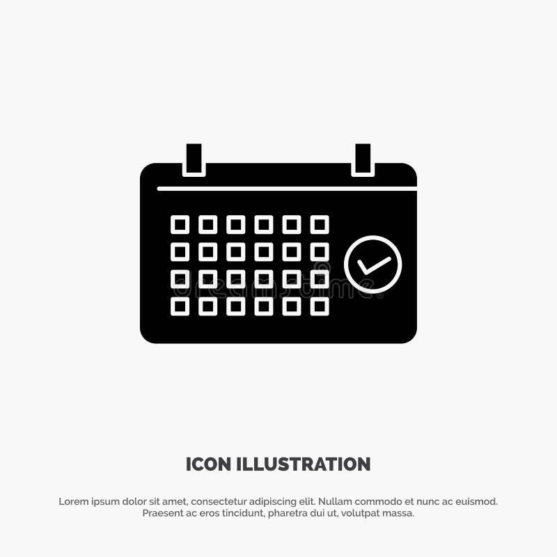 Calendario, data, mese, anno, vettore solido dell'icona di glifo di tempo royalty illustrazione gratis
