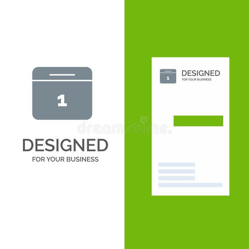 Calendario, data, mese, giorno Grey Logo Design e modello del biglietto da visita illustrazione vettoriale
