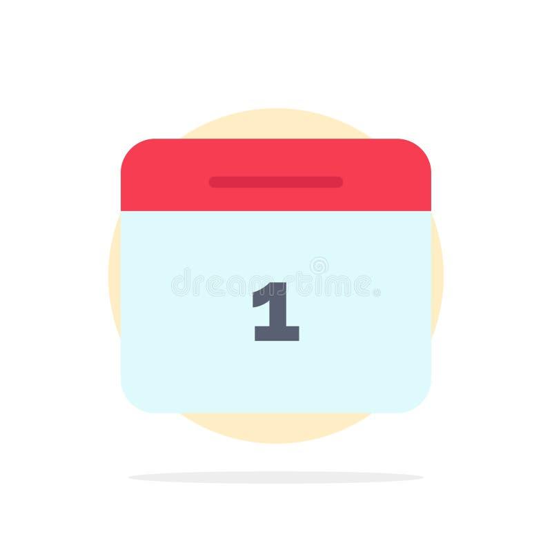 Calendario, data, mese, icona piana di colore del fondo del cerchio dell'estratto di giorno illustrazione vettoriale
