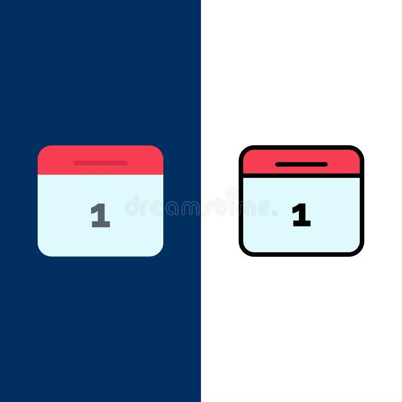 Calendario, data, mese, icone di giorno Il piano e la linea icona riempita hanno messo il fondo blu di vettore illustrazione di stock